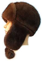 шапка ушанка женская из меха норки   цвет орех