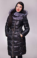 Женское пальто Salco на холлофайбере с мехом чернобурки