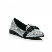 Женские блестящие туфли лоферы с бантиком