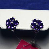 Ювелирные серебряные серьги пусеты Цветы с цирконом 2236