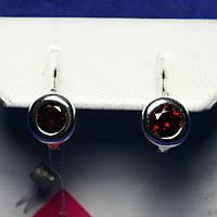 Детские серебряные сережки с фианитом (красный) 2238