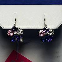 Женские серебряные серьги Цветы с разноцветными камнями 2270