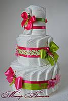 """Оригинальный подарок новорожденному. Торт из памперсов """"Яркий"""" на 60 штук"""