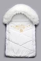 Белый детский конверт для новорожденного с мехом