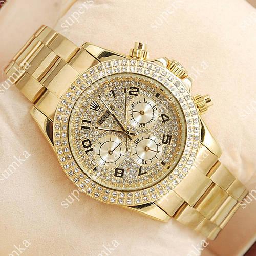 Яркие наручные часы Rolex Daytona Women Crystal Gold 2030