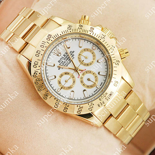 Надежные наручные часы Rolex Daytona Men Gold/White 2027