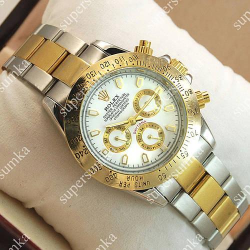 Аналоговые наручные часы Rolex Daytona Men Silver/Gold/White 2033