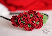 """Обруч/веночек """"Красные маки""""с цветами ручной работы из полимерной глины."""