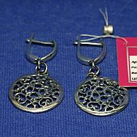 Большие серьги серебро с подвесками без камней 2336