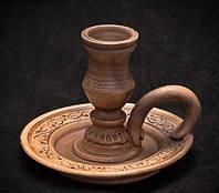 Подсвечник глиняный на блюдце