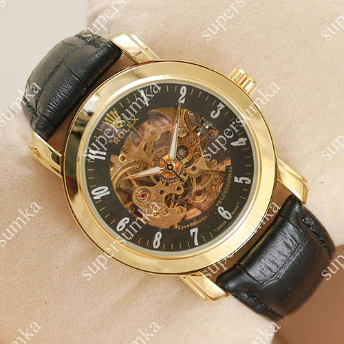 Классические наручные часы Rolex Professional Black/Gold/Black 2053