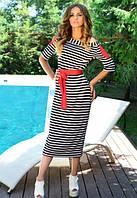 Женское платье тельняшка с поясом
