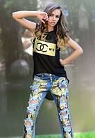 Женская чёрная футболка-туника Сосо №5