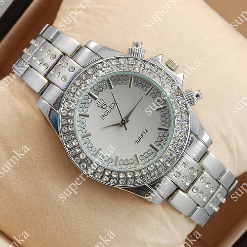 Стильные наручные часы Rolex Brilliant Silver/White 2079