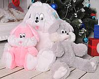 Мягкая игрушка плюшевый Зайчик Снежок 80 см.