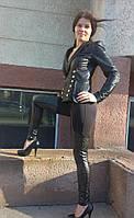 Лосины молодежные с кожаными вставками 255 ч.в