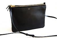 Кросс-боди женская кожаная черная Celine Trio bag 8006