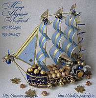 """Корабль из конфет """"Синее море"""" новогодний"""