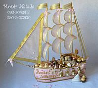 Оригинальный подарок на свадьбу. Корабль из конфет
