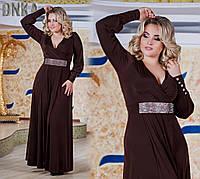 Платье в  пол с камнями батал