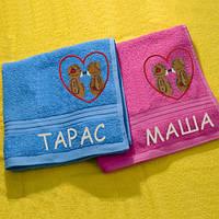 Махровое полотенце с Вашим именем и мишками
