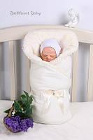 Теплый конверт-одеяло на выписку Lari Велюр махра. Молочный