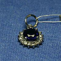 Кулон из серебра девушке с синим камнем 3015в