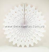 Подвесной веер, белый, 50 см - бумажный декор-розетка
