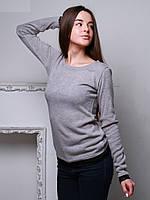 Кофта женская с гипюром, ангора, цвет серый