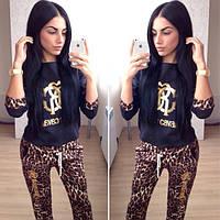 """Стильный леопардовый костюм """"RK"""", кофта+брюки"""
