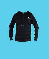 Кенгурушка,кофта с капюшоном,Adidas трикотажная, демисезонная.Чёрная.7109