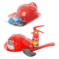 Набор пожарника 906   каска, огнетушитель, топор, рация, в сетке, 28-22-9см