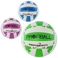 Мяч волейбольный EV 3204   офиц.размер,ПВХ 2мм,2слоя,18панелей,3цвета,260-280г