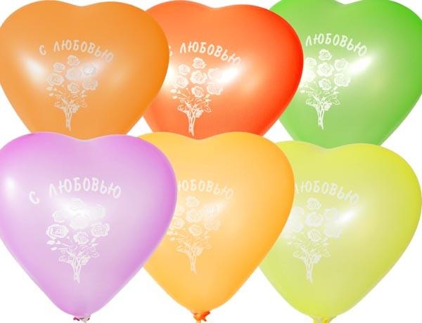 """Воздушные шарики неон  шелкография Сердца """"С любовью"""" 11""""(28 см) оптом ТМ Gemar"""