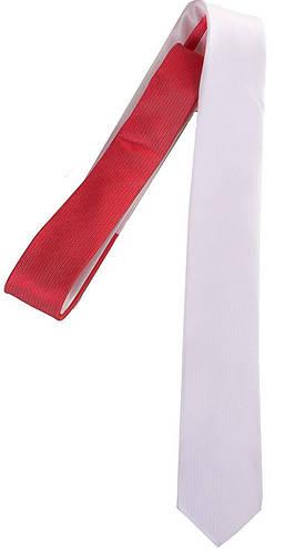 Праздничный мужской узкий галстук из шелка ETERNO (ЭТЕРНО) EG601 белый