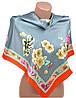 Красивый женский шелковый платок размером 90*90 20492-A1 (серый)