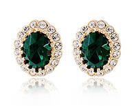 Серьги «Зеленые камни» с кристаллами Сваровски, купить