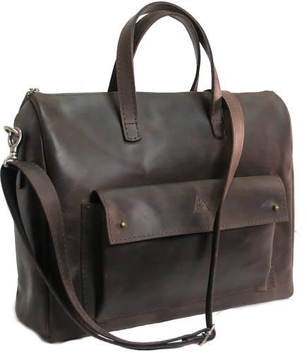 Мужская кожаная сумка - портфель Agruz 72994 коричневый Размеры: 37х27х13 см.