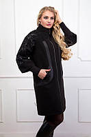 Женское черное пальто на молнии (размеры 48-62)