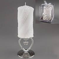 """Свадебная свеча 16 см """"Жемчуженки и цветы"""""""
