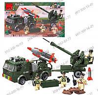Конструктор Brick 812 Ракетница, 242 детали, установка крутится, ракетница стреляет, фигурки военных+инструкци