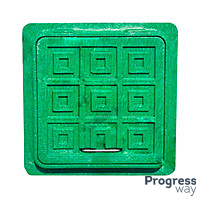 Люк квадратный полимерный зеленый 420 мм х 560 мм Мпласт максимальный вес 1,5 тонн