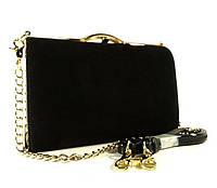 Клатч-бокс сумочка замшевая женская черная Shengkasilu 61873-1