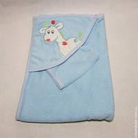"""Уголок полотенце """"Жираф"""" набор для купания для новорожденных цвет голубой"""