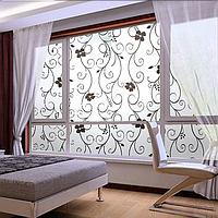 """Наклейка на стену, матовые наклейки на окно, на дверь, в офис """"Романтические цветы"""" узоры на стену 100x45см"""