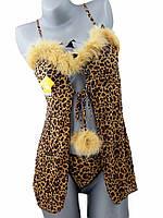 Эротический пеньюар леопардовый с пухом и трусиками стринг в комплекте, опт розница