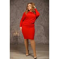 Женское свободное платье баталл Луиза цвет красный размер 48-72