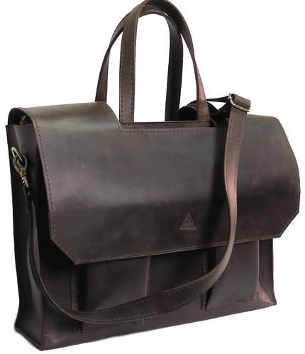 Мужская кожаная сумка - портфель Agruz 72995 коричневый Размеры: 38х28х10 см.