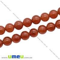 Бусина натуральный камень Сердолик, 10 мм, Круглая, 1 шт (BUS-014132)