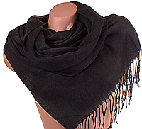 Женский черный шерстяной палантин в стиле минимализма 180 на 69 см ETERNO (ЭТЕРНО) ES0406-2-2